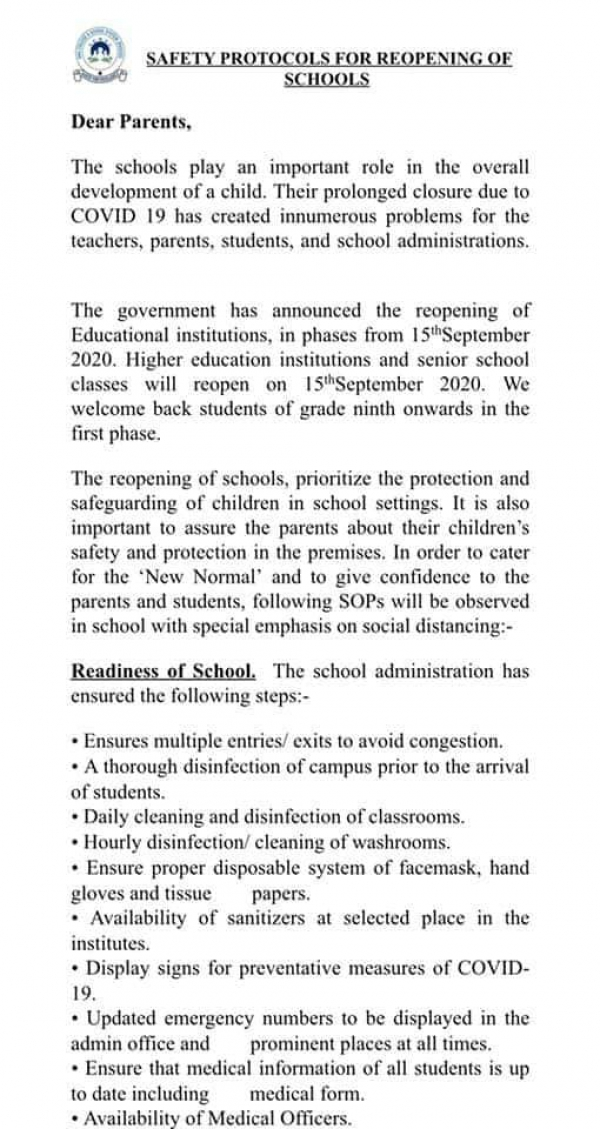 Safety Protocols for Reopening of DHACSS Institutions